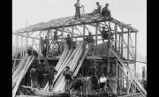 """Рабочие компании """"Солель-боне"""" на стройке в Кфар-Сабе, 1933 г."""