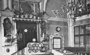 Традиционное убранство синагогиЦифрами обозначены: 1 - бима, 2 - нер-тамид, 3 - арон hа-кодеш, 4 - парохет