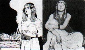Рисунок Эфраима Лилиена (1902 года) и фотоснимок женщины в том же наряде (1906)