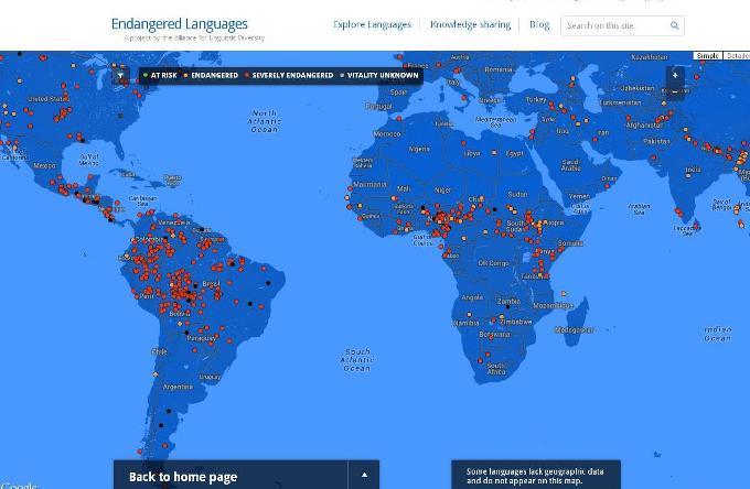Карта исчезающих языков планеты Земля