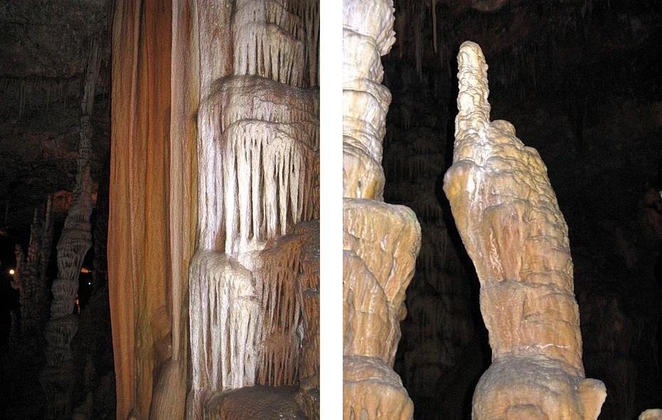 Сталактиты и сталагмиты в пещере Авшалом