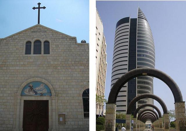 Мелькитская церковь и небоскреб «Парус»
