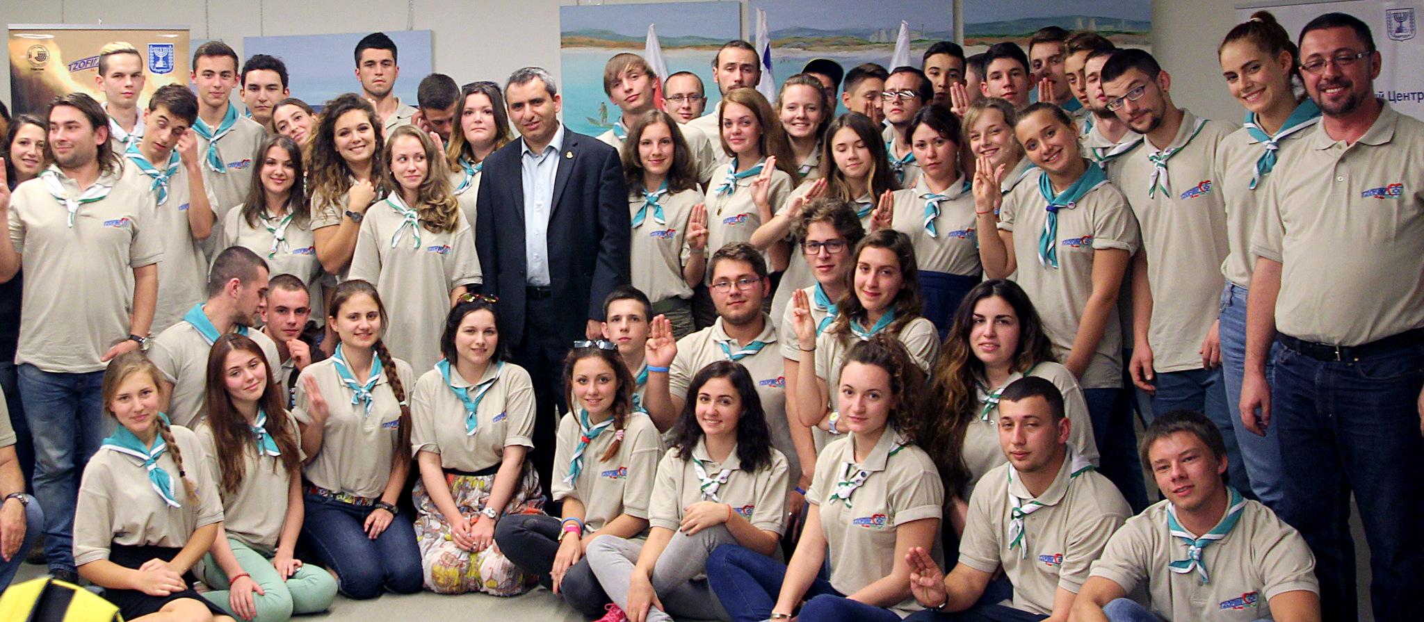 Участники семинара «Атид» с министром репатриации и абсорбции Зеэвом Элькином.