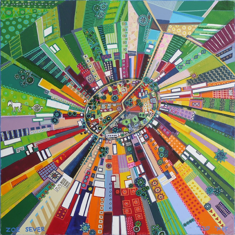 Zoe Sever: Nahalal Village. Oil&acrilc on canvas 80 X 80